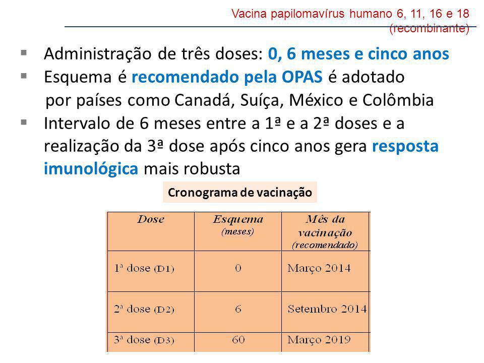 Vacina papilomavírus humano 6, 11, 16 e 18 (recombinante) Administração de três doses: 0, 6 meses e cinco anos Esquema é recomendado pela OPAS é adota