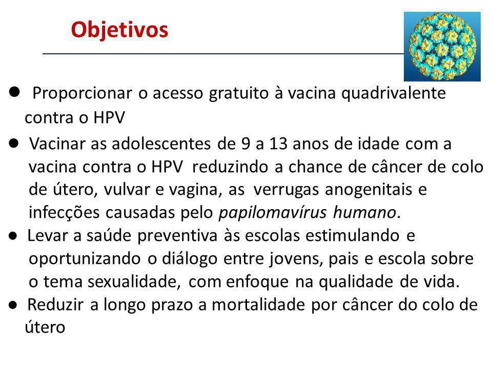 Objetivos Proporcionar o acesso gratuito à vacina quadrivalente contra o HPV Vacinar as adolescentes de 9 a 13 anos de idade com a vacina contra o HPV