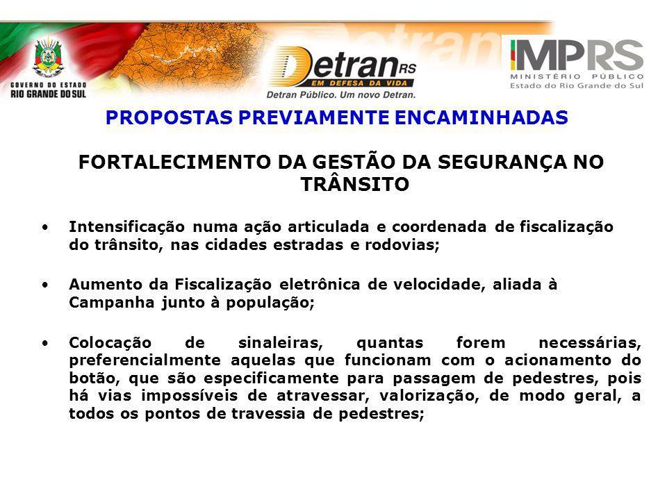 PROPOSTAS PREVIAMENTE ENCAMINHADAS FORTALECIMENTO DA GESTÃO DA SEGURANÇA NO TRÂNSITO Intensificação numa ação articulada e coordenada de fiscalização