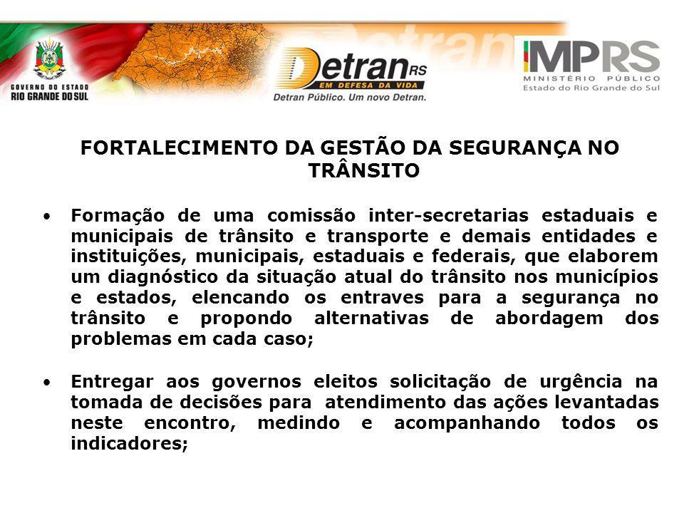 FORTALECIMENTO DA GESTÃO DA SEGURANÇA NO TRÂNSITO Formação de uma comissão inter-secretarias estaduais e municipais de trânsito e transporte e demais