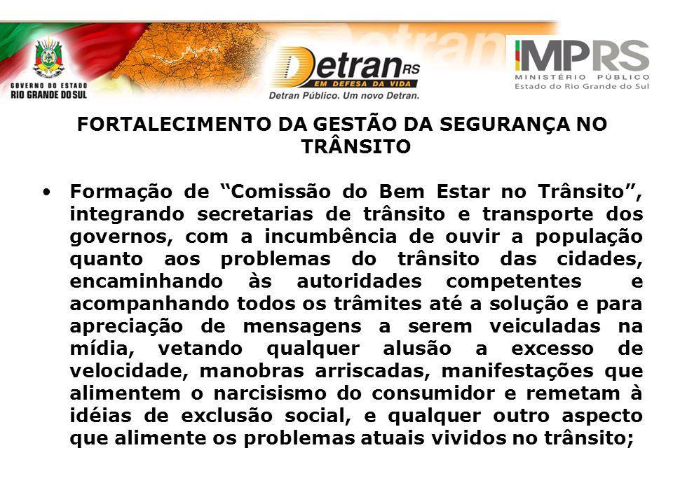 FORTALECIMENTO DA GESTÃO DA SEGURANÇA NO TRÂNSITO Formação de Comissão do Bem Estar no Trânsito, integrando secretarias de trânsito e transporte dos g