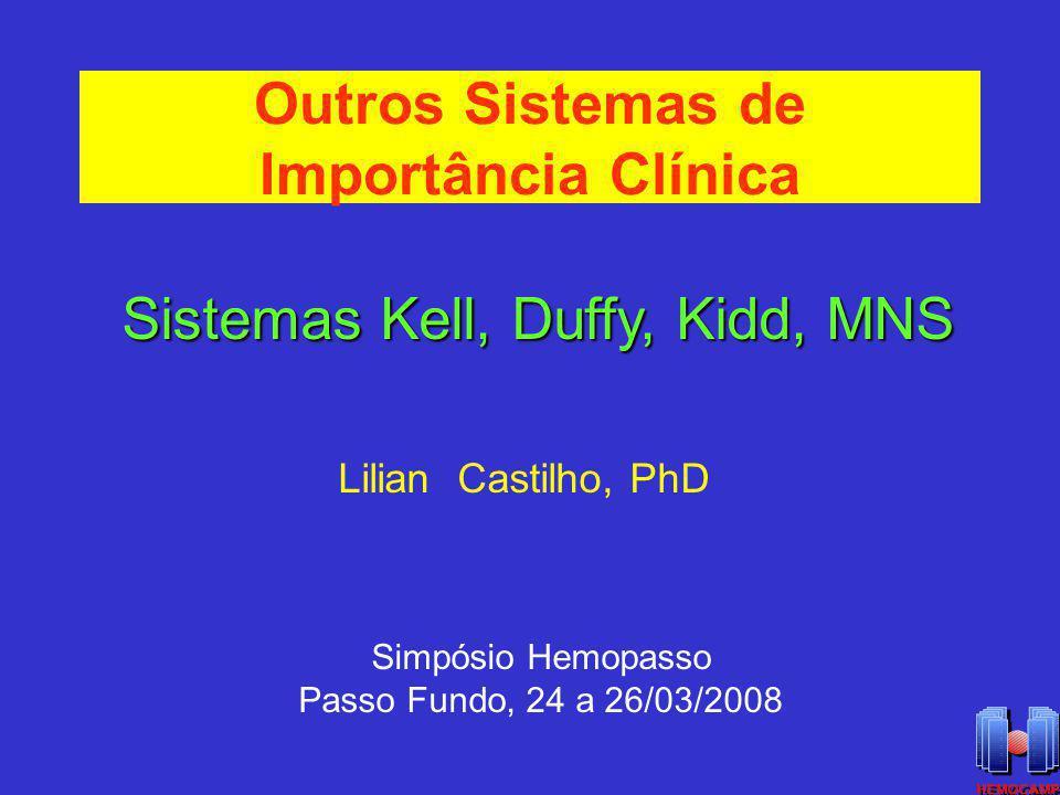 Outros Sistemas de Importância Clínica Sistemas Kell, Duffy, Kidd, MNS Simpósio Hemopasso Passo Fundo, 24 a 26/03/2008 Lilian Castilho, PhD