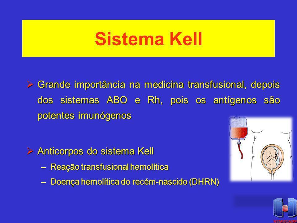 Sistema Kell 1946: Coombs et al ISBT: 006 Altamente polimórfico 31 antígenos Principais antígenos: K, k, Kp a, Kp b, Js a, Js b (antitéticos) Fenótipo null: K 0 Expressos somente nos eritrócitos