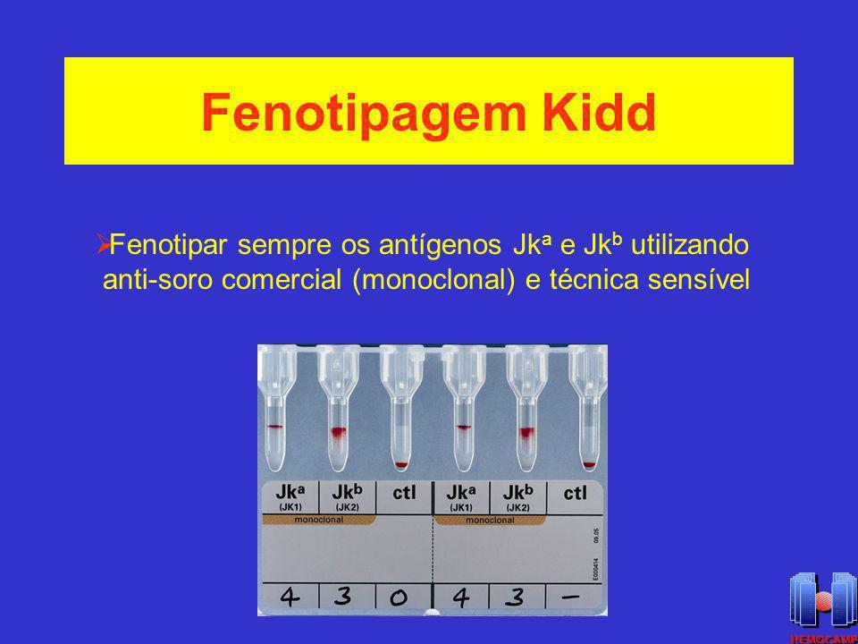 Fenotipagem Kidd Fenotipar sempre os antígenos Jk a e Jk b utilizando anti-soro comercial (monoclonal) e técnica sensível