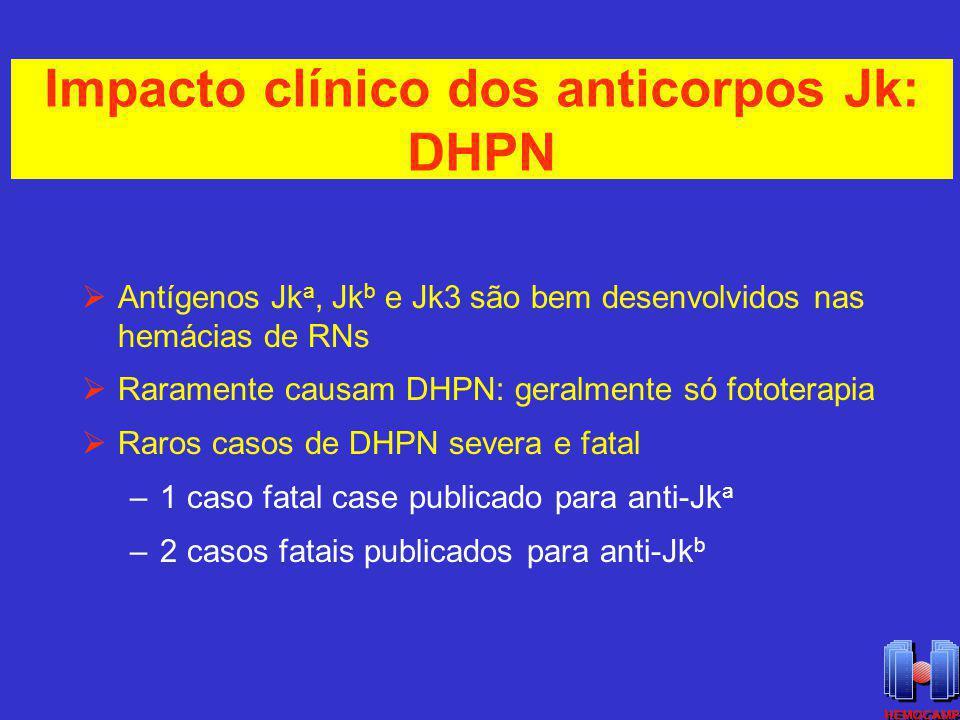 Impacto clínico dos anticorpos Jk: DHPN Antígenos Jk a, Jk b e Jk3 são bem desenvolvidos nas hemácias de RNs Raramente causam DHPN: geralmente só foto