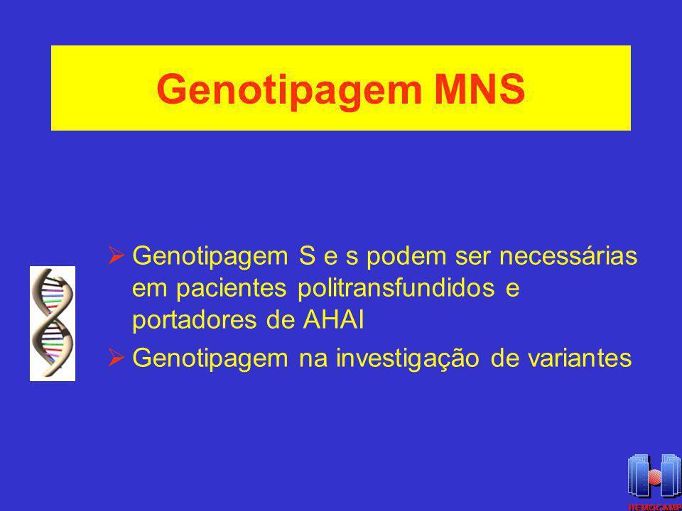 Genotipagem MNS Genotipagem S e s podem ser necessárias em pacientes politransfundidos e portadores de AHAI Genotipagem na investigação de variantes