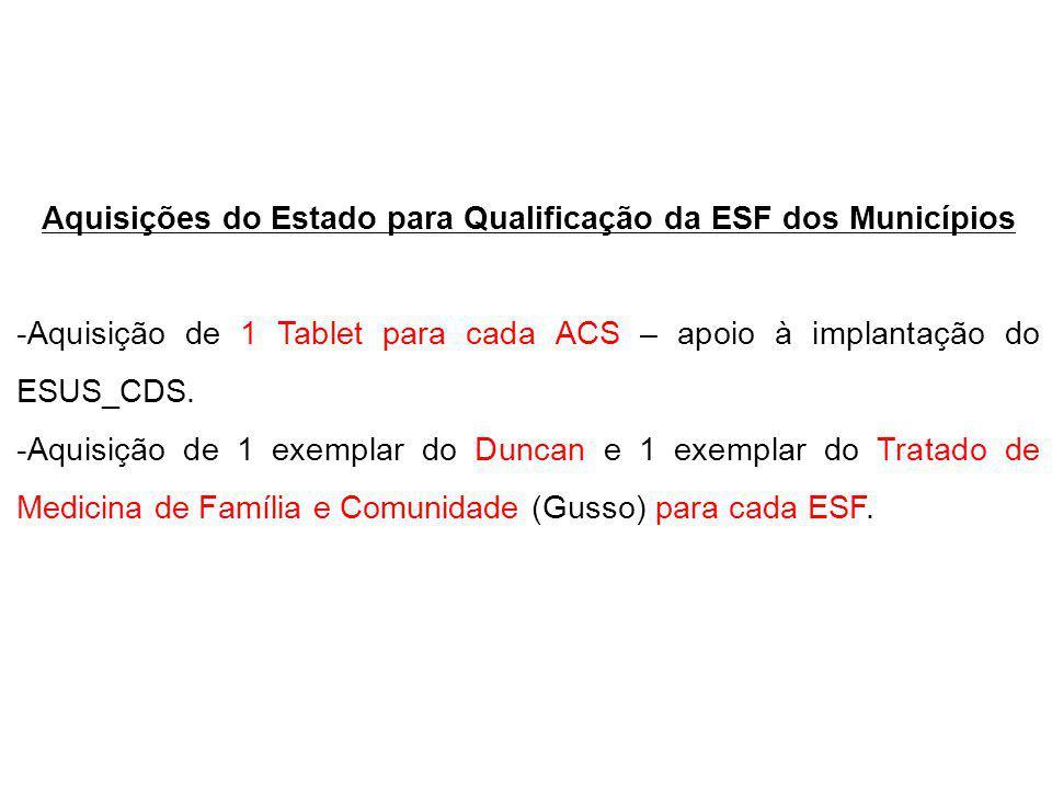 Aquisições do Estado para Qualificação da ESF dos Municípios -Aquisição de 1 Tablet para cada ACS – apoio à implantação do ESUS_CDS.