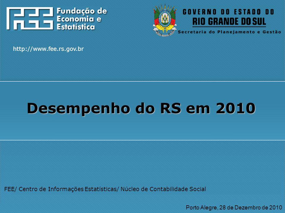 http://www.fee.rs.gov.br FEE/ Centro de Informações Estatísticas/ Núcleo de Contabilidade Social Porto Alegre, 28 de Dezembro de 2010 Desempenho do RS