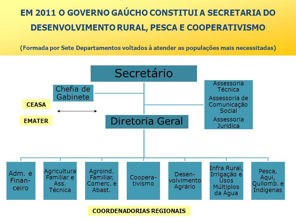 EM 2011 O GOVERNO GAÚCHO CONSTITUI A SECRETARIA DO DESENVOLVIMENTO RURAL, PESCA E COOPERATIVISMO (Formada por Sete Departamentos voltados à atender as