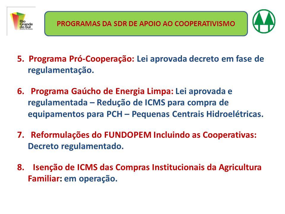 5. Programa Pró-Cooperação: Lei aprovada decreto em fase de regulamentação. 6. Programa Gaúcho de Energia Limpa: Lei aprovada e regulamentada – Reduçã