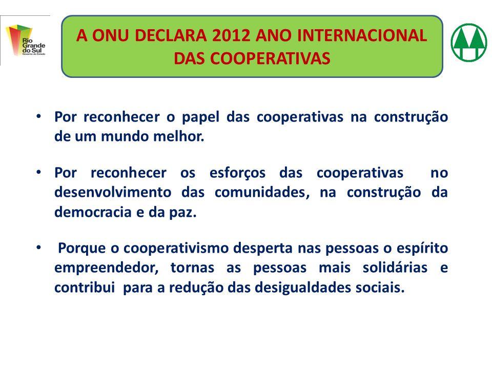 Por reconhecer o papel das cooperativas na construção de um mundo melhor. Por reconhecer os esforços das cooperativas no desenvolvimento das comunidad
