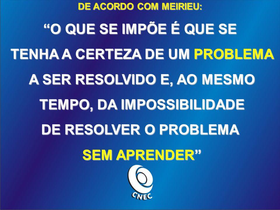 DE ACORDO COM MEIRIEU: O QUE SE IMPÕE É QUE SE TENHA A CERTEZA DE UM PROBLEMA TENHA A CERTEZA DE UM PROBLEMA A SER RESOLVIDO E, AO MESMO A SER RESOLVIDO E, AO MESMO TEMPO, DA IMPOSSIBILIDADE TEMPO, DA IMPOSSIBILIDADE DE RESOLVER O PROBLEMA SEM APRENDER SEM APRENDER