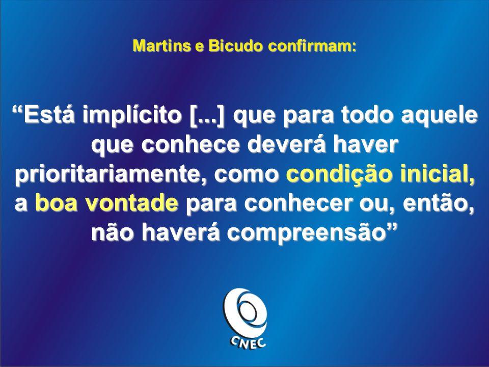 Martins e Bicudo confirmam: Está implícito [...] que para todo aquele que conhece deverá haver prioritariamente, como condição inicial, a boa vontade para conhecer ou, então, não haverá compreensão