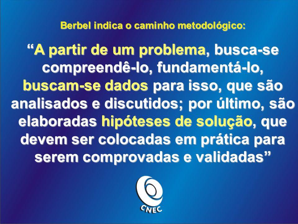 Berbel indica o caminho metodológico: A partir de um problema, busca-se compreendê-lo, fundamentá-lo, buscam-se dados para isso, que são analisados e discutidos; por último, são elaboradas hipóteses de solução, que devem ser colocadas em prática para serem comprovadas e validadasA partir de um problema, busca-se compreendê-lo, fundamentá-lo, buscam-se dados para isso, que são analisados e discutidos; por último, são elaboradas hipóteses de solução, que devem ser colocadas em prática para serem comprovadas e validadas
