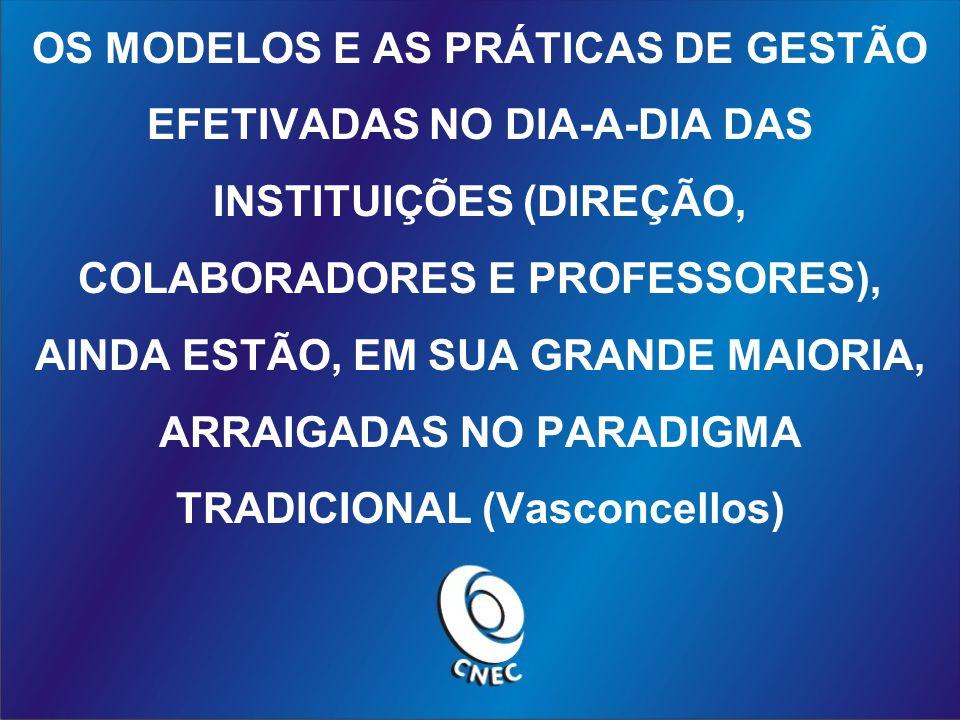 OS MODELOS E AS PRÁTICAS DE GESTÃO EFETIVADAS NO DIA-A-DIA DAS INSTITUIÇÕES (DIREÇÃO, COLABORADORES E PROFESSORES), AINDA ESTÃO, EM SUA GRANDE MAIORIA, ARRAIGADAS NO PARADIGMA TRADICIONAL (Vasconcellos)