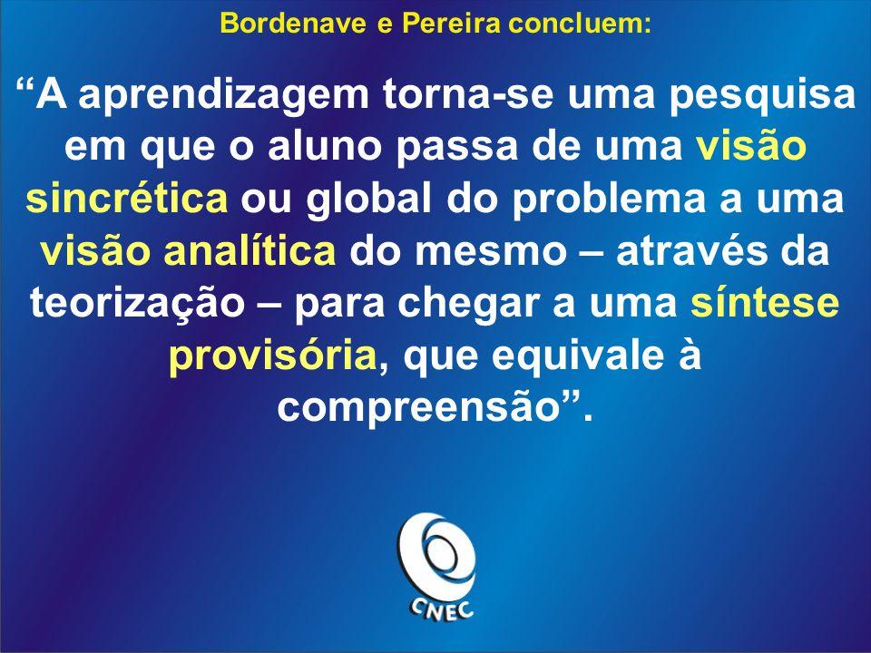 Bordenave e Pereira concluem: A aprendizagem torna-se uma pesquisa em que o aluno passa de uma visão sincrética ou global do problema a uma visão analítica do mesmo – através da teorização – para chegar a uma síntese provisória, que equivale à compreensão.