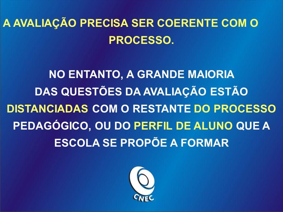 A AVALIAÇÃO PRECISA SER COERENTE COM O PROCESSO.