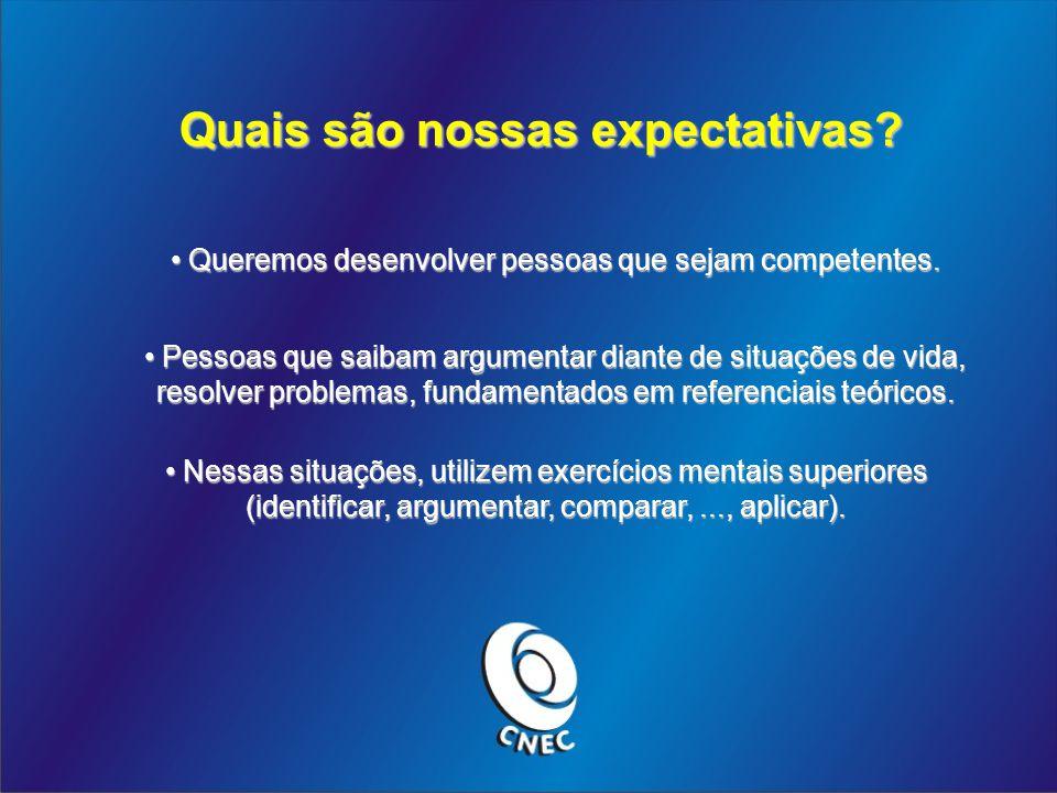 Quais são nossas expectativas? Queremos desenvolver pessoas que sejam competentes. Queremos desenvolver pessoas que sejam competentes. Pessoas que sai