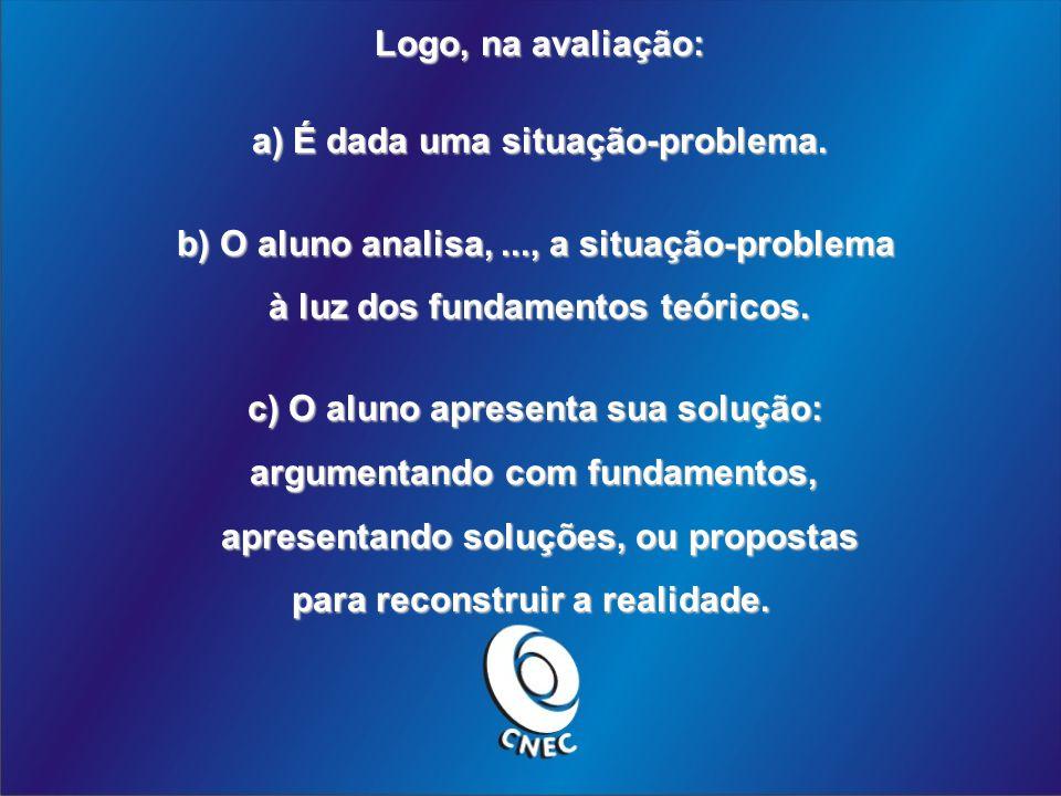 Logo, na avaliação: a) É dada uma situação-problema.