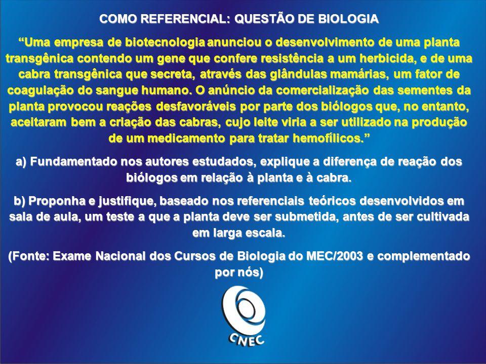 COMO REFERENCIAL: QUESTÃO DE BIOLOGIA Uma empresa de biotecnologia anunciou o desenvolvimento de uma planta transgênica contendo um gene que confere r