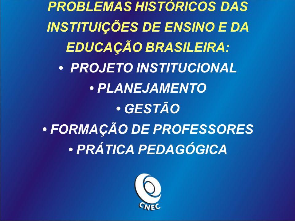 PROBLEMAS HISTÓRICOS DAS INSTITUIÇÕES DE ENSINO E DA EDUCAÇÃO BRASILEIRA: PROJETO INSTITUCIONAL PLANEJAMENTO GESTÃO FORMAÇÃO DE PROFESSORES PRÁTICA PE