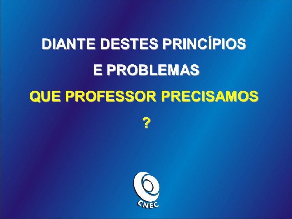 DIANTE DESTES PRINCÍPIOS E PROBLEMAS QUE PROFESSOR PRECISAMOS ?