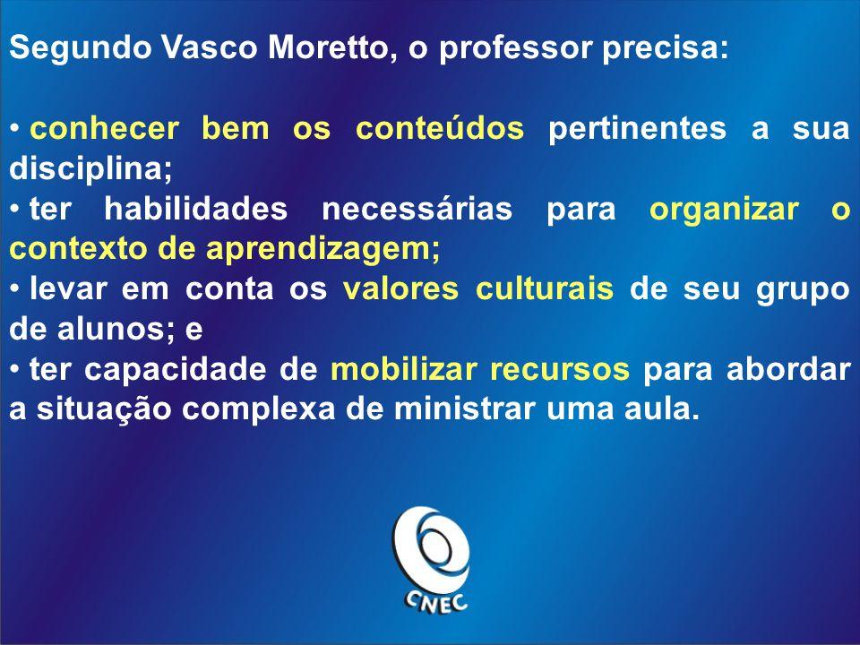 Segundo Vasco Moretto, o professor precisa: conhecer bem os conteúdos pertinentes a sua disciplina; ter habilidades necessárias para organizar o conte