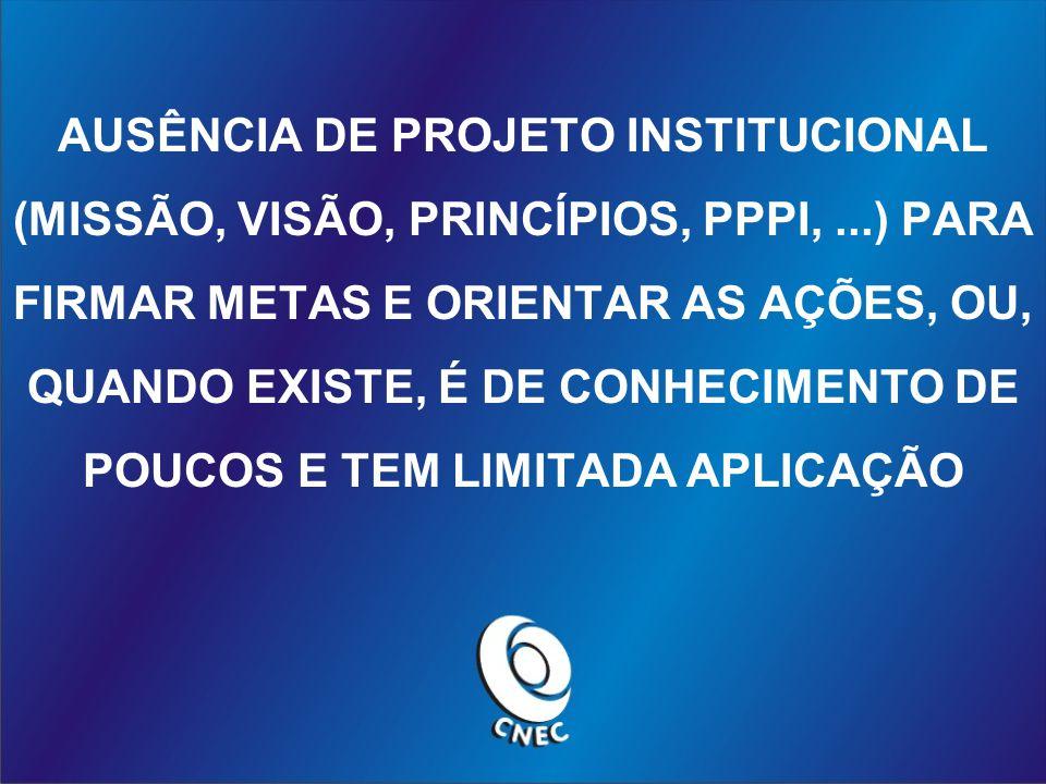 AUSÊNCIA DE PROJETO INSTITUCIONAL (MISSÃO, VISÃO, PRINCÍPIOS, PPPI,...) PARA FIRMAR METAS E ORIENTAR AS AÇÕES, OU, QUANDO EXISTE, É DE CONHECIMENTO DE POUCOS E TEM LIMITADA APLICAÇÃO