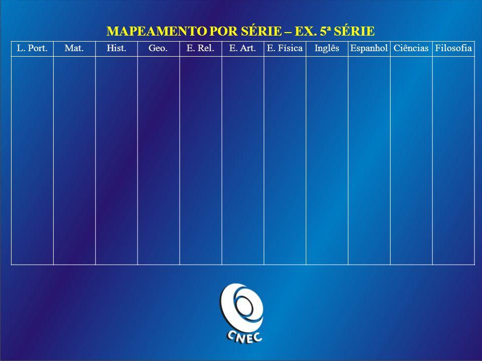 MAPEAMENTO POR SÉRIE – EX.5ª SÉRIE L. Port.Mat.Hist.Geo.E.