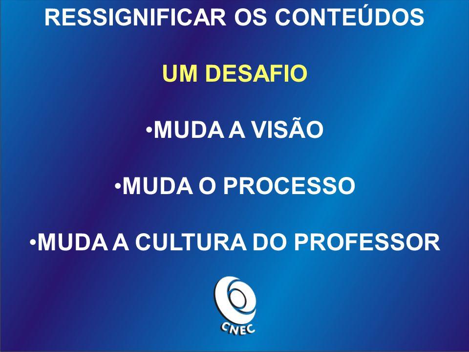 RESSIGNIFICAR OS CONTEÚDOS UM DESAFIO MUDA A VISÃO MUDA O PROCESSO MUDA A CULTURA DO PROFESSOR