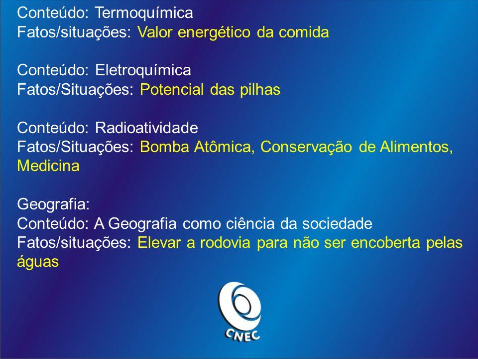 Conteúdo: Termoquímica Fatos/situações: Valor energético da comida Conteúdo: Eletroquímica Fatos/Situações: Potencial das pilhas Conteúdo: Radioativid