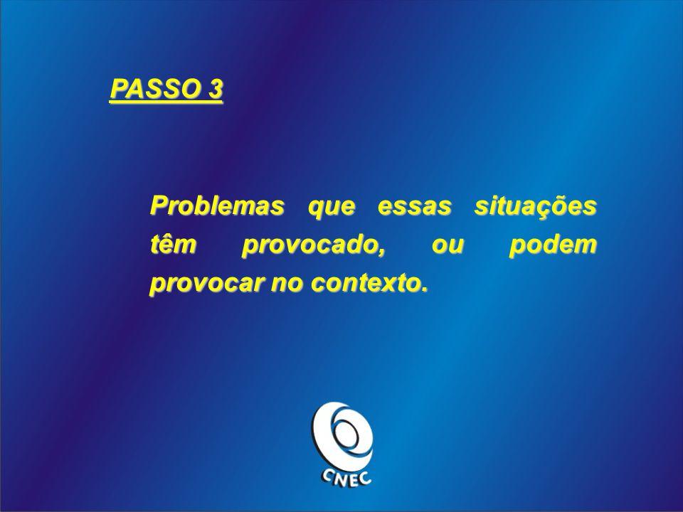 PASSO 3 Problemas que essas situações têm provocado, ou podem provocar no contexto.