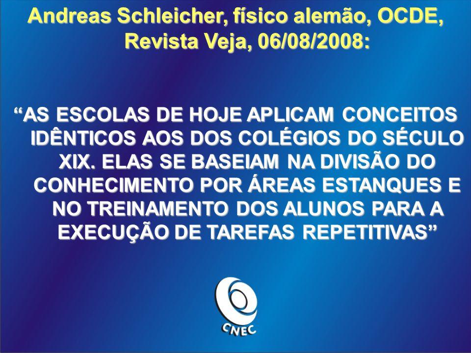 Andreas Schleicher, físico alemão, OCDE, Revista Veja, 06/08/2008: AS ESCOLAS DE HOJE APLICAM CONCEITOS IDÊNTICOS AOS DOS COLÉGIOS DO SÉCULO XIX.
