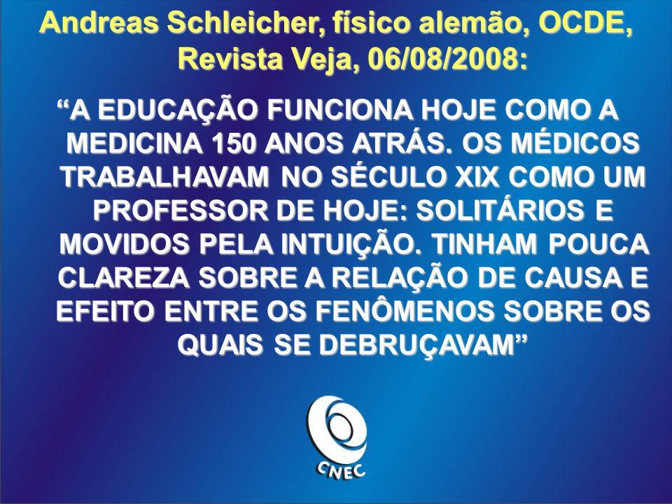 Andreas Schleicher, físico alemão, OCDE, Revista Veja, 06/08/2008: A EDUCAÇÃO FUNCIONA HOJE COMO A MEDICINA 150 ANOS ATRÁS.