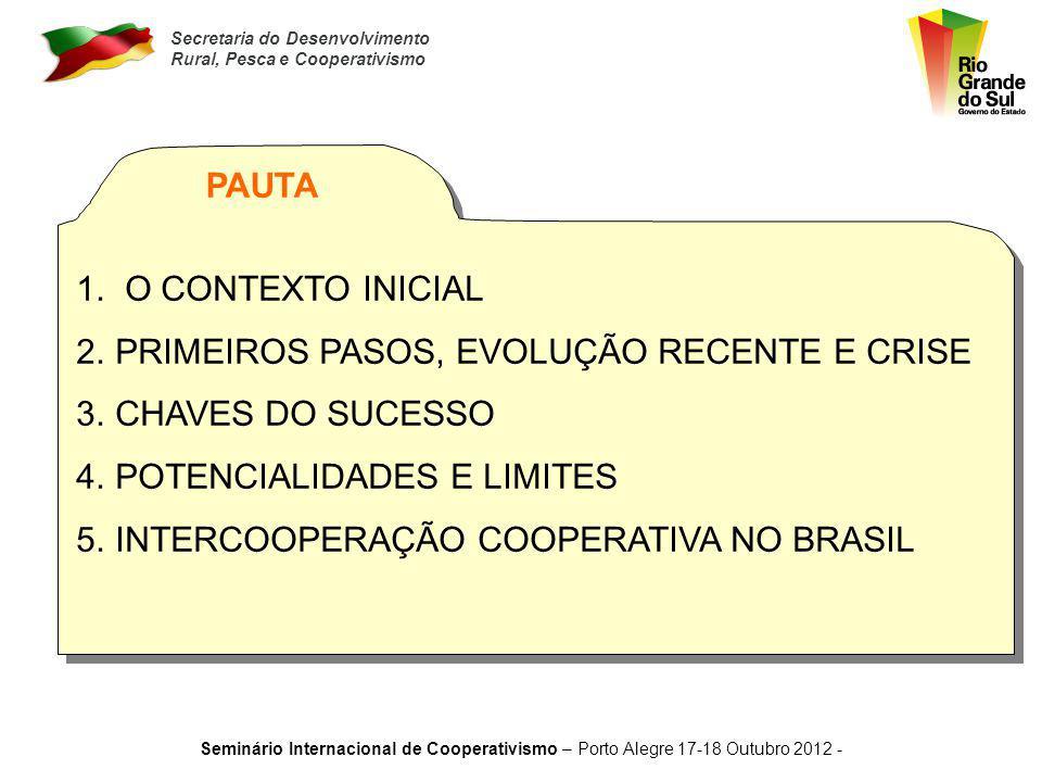 Secretaria do Desenvolvimento Rural, Pesca e Cooperativismo Seminário Internacional de Cooperativismo – Porto Alegre 17-18 Outubro 2012 - EMPREGO