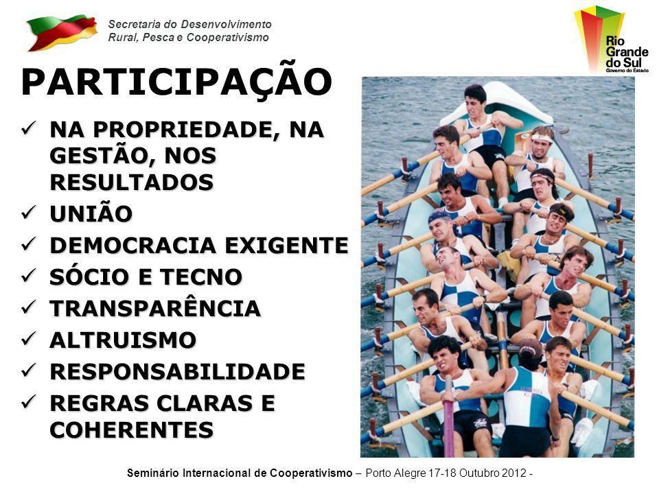 Secretaria do Desenvolvimento Rural, Pesca e Cooperativismo Seminário Internacional de Cooperativismo – Porto Alegre 17-18 Outubro 2012 - TRABALHO PRINCIPAL FATOR TRANSFORMADOR PRINCIPAL FATOR TRANSFORMADOR SOBERANO SOBERANO COOPERATIVO COOPERATIVO GUIA DISTRIBUIÇÃO GUIA DISTRIBUIÇÃO COMUNIDADE COMUNIDADE CATALISADOR DA DISCREPÂNCIA SOCIAL CATALISADOR DA DISCREPÂNCIA SOCIAL