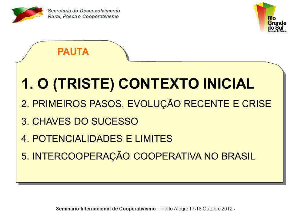 Secretaria do Desenvolvimento Rural, Pesca e Cooperativismo Seminário Internacional de Cooperativismo – Porto Alegre 17-18 Outubro 2012 - 1. O CONTEXT