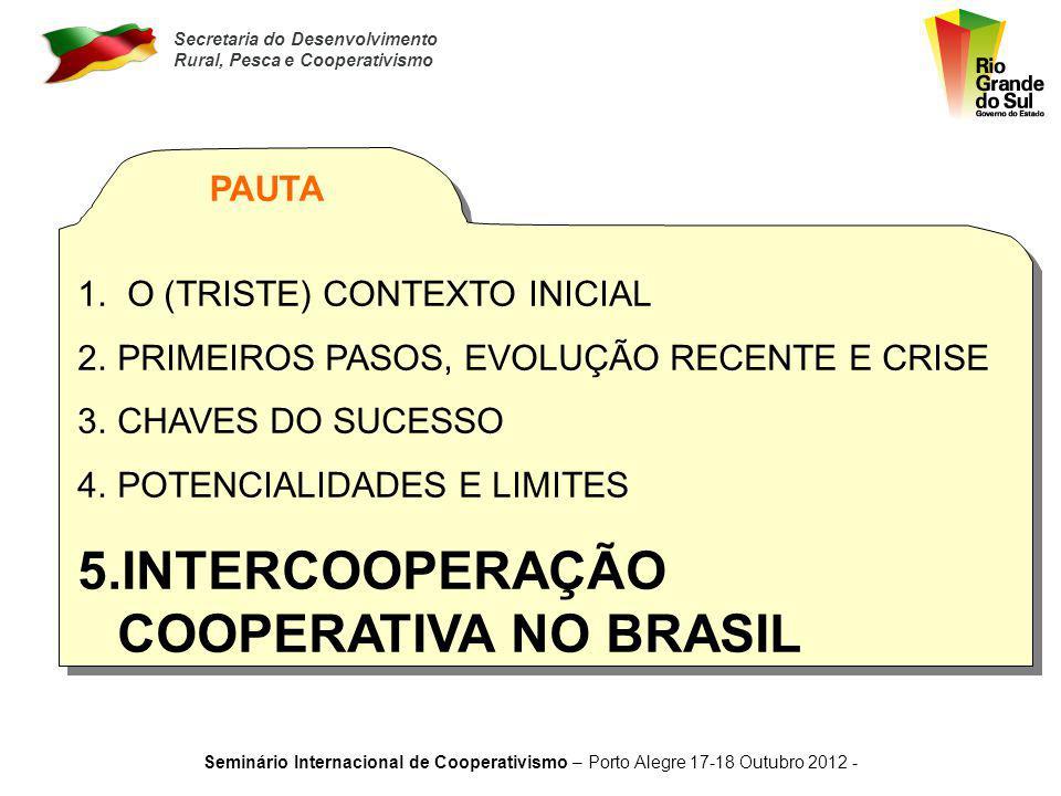 Secretaria do Desenvolvimento Rural, Pesca e Cooperativismo Seminário Internacional de Cooperativismo – Porto Alegre 17-18 Outubro 2012 - POTENCIALIDA