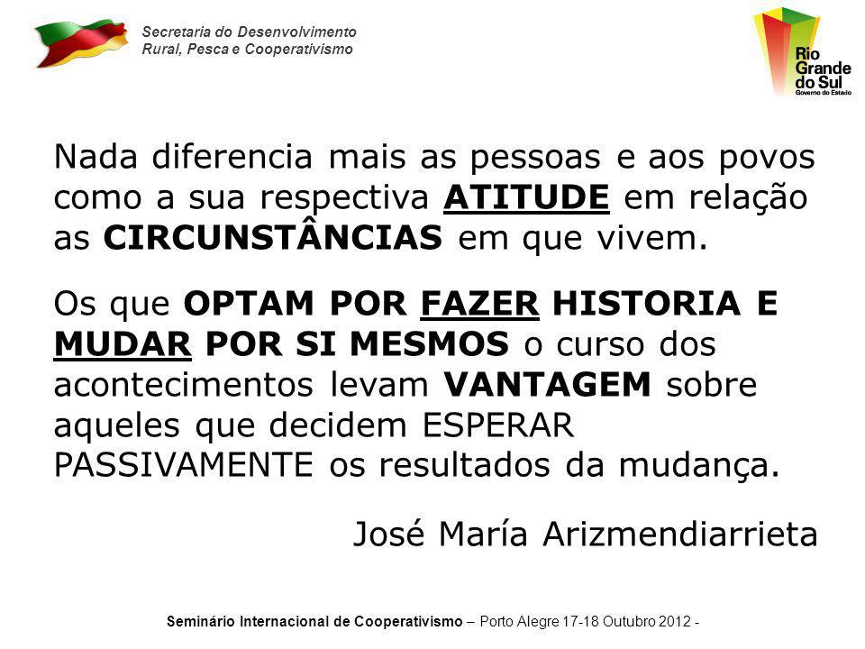 Secretaria do Desenvolvimento Rural, Pesca e Cooperativismo Seminário Internacional de Cooperativismo – Porto Alegre 17-18 Outubro 2012 - QuedasLaranj