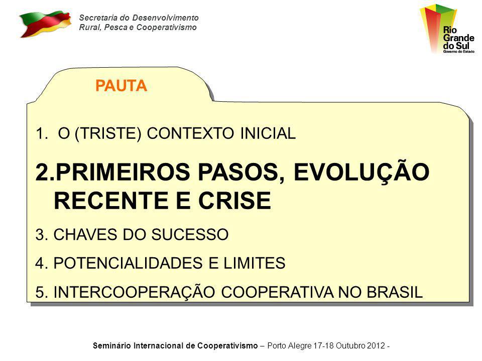 Secretaria do Desenvolvimento Rural, Pesca e Cooperativismo Seminário Internacional de Cooperativismo – Porto Alegre 17-18 Outubro 2012 - Quase um mil
