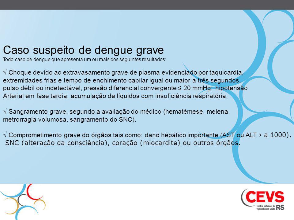 Caso suspeito de dengue grave Todo caso de dengue que apresenta um ou mais dos seguintes resultados: Choque devido ao extravasamento grave de plasma e
