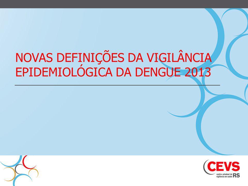 Avaliação da classificação Dengue OMS,2009 Coorte de 544 casos de dengue com confirmação laboratorial Nova classificação:alta sensibilidade(92,1%) e especificidade(78,5%) na identificação dos casos graves.