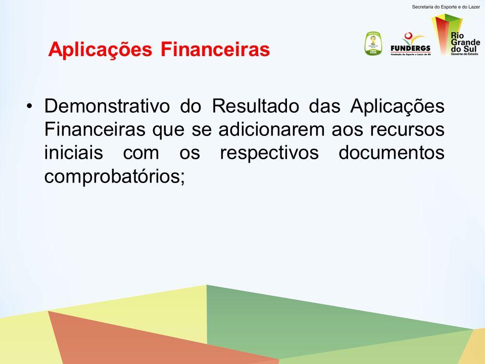Recolhimento dos Saldos Comprovantes de recolhimento dos saldos não utilizados, inclusive rendimentos financeiros, à conta do recurso estadual do convênio;