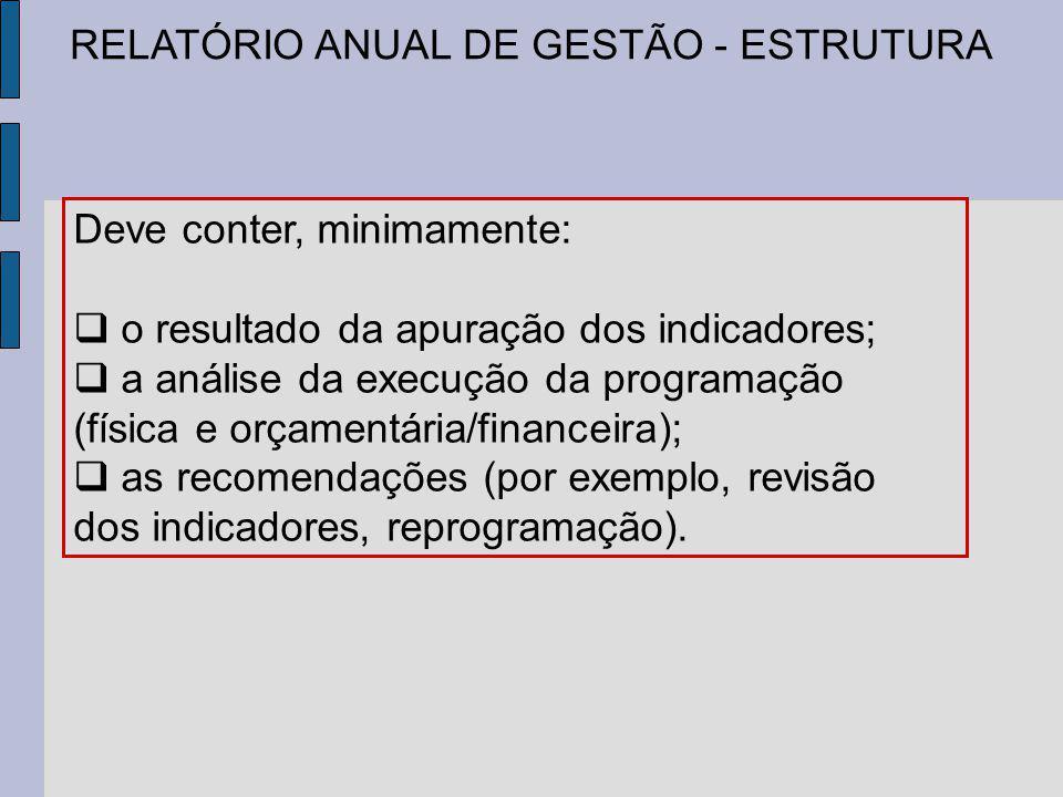 RELATÓRIO ANUAL DE GESTÃO - ESTRUTURA Deve conter, minimamente: o resultado da apuração dos indicadores; a análise da execução da programação (física e orçamentária/financeira); as recomendações (por exemplo, revisão dos indicadores, reprogramação).