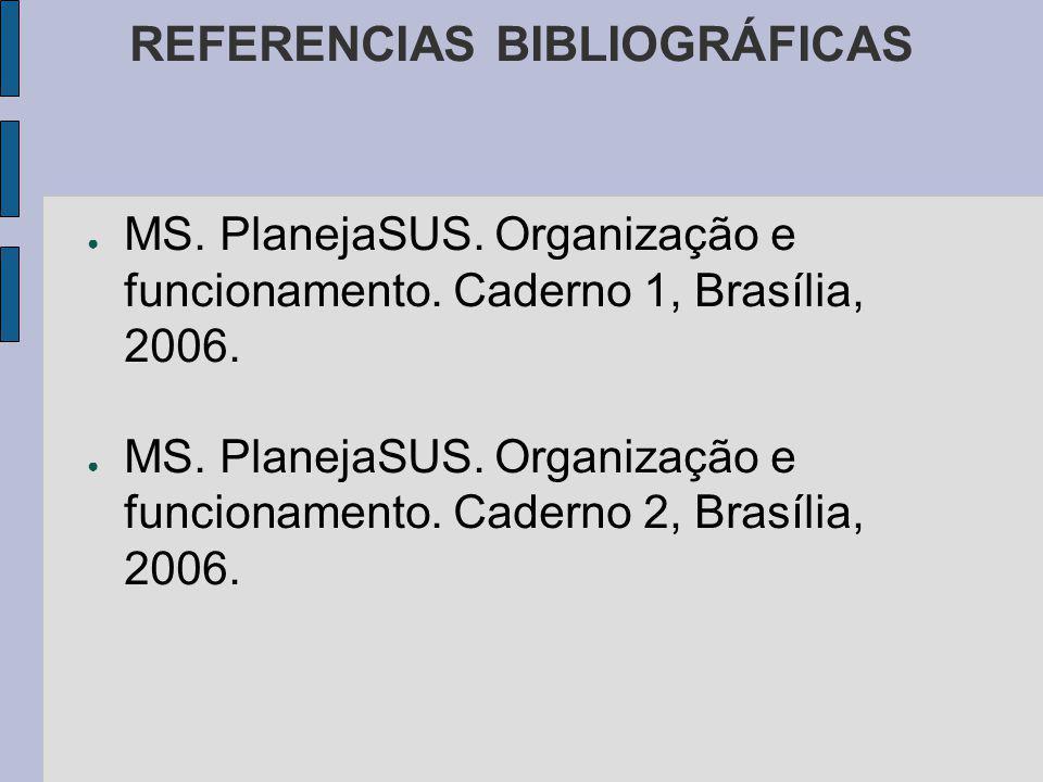 REFERENCIAS BIBLIOGRÁFICAS MS. PlanejaSUS. Organização e funcionamento.