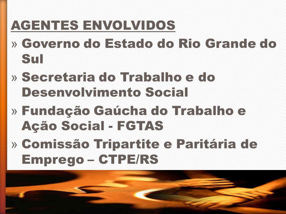 AGENTES ENVOLVIDOS » Governo do Estado do Rio Grande do Sul » Secretaria do Trabalho e do Desenvolvimento Social » Fundação Gaúcha do Trabalho e Ação
