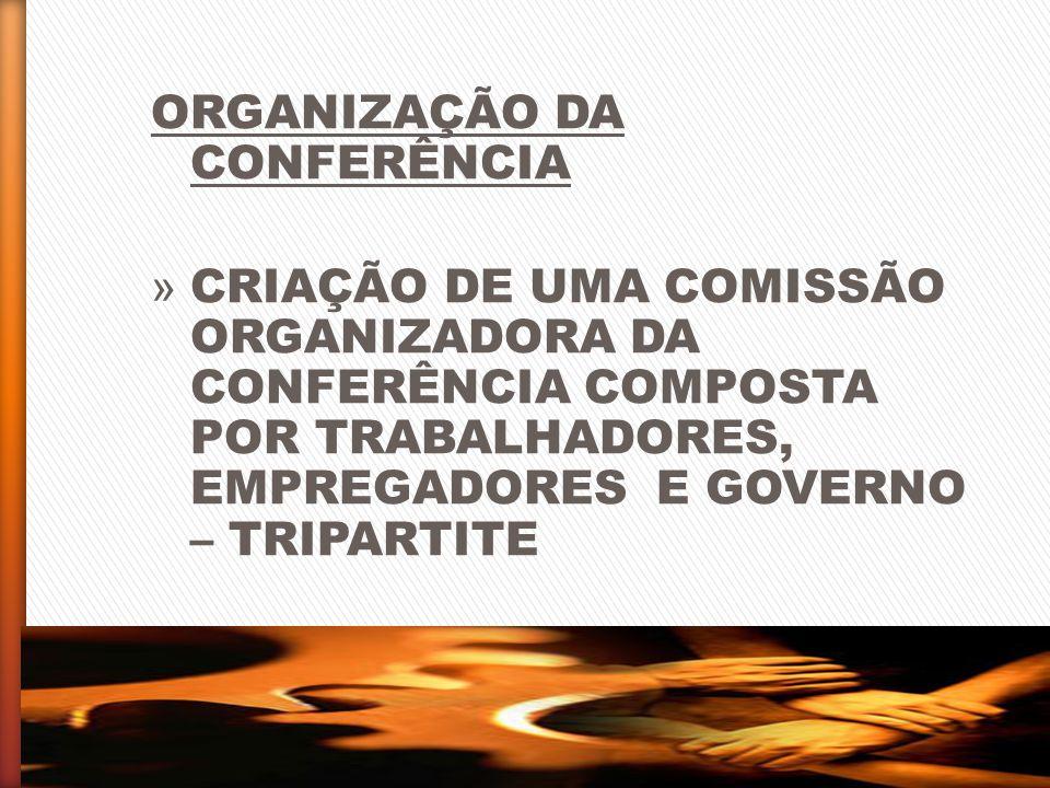 ORGANIZAÇÃO DA CONFERÊNCIA » CRIAÇÃO DE UMA COMISSÃO ORGANIZADORA DA CONFERÊNCIA COMPOSTA POR TRABALHADORES, EMPREGADORES E GOVERNO – TRIPARTITE