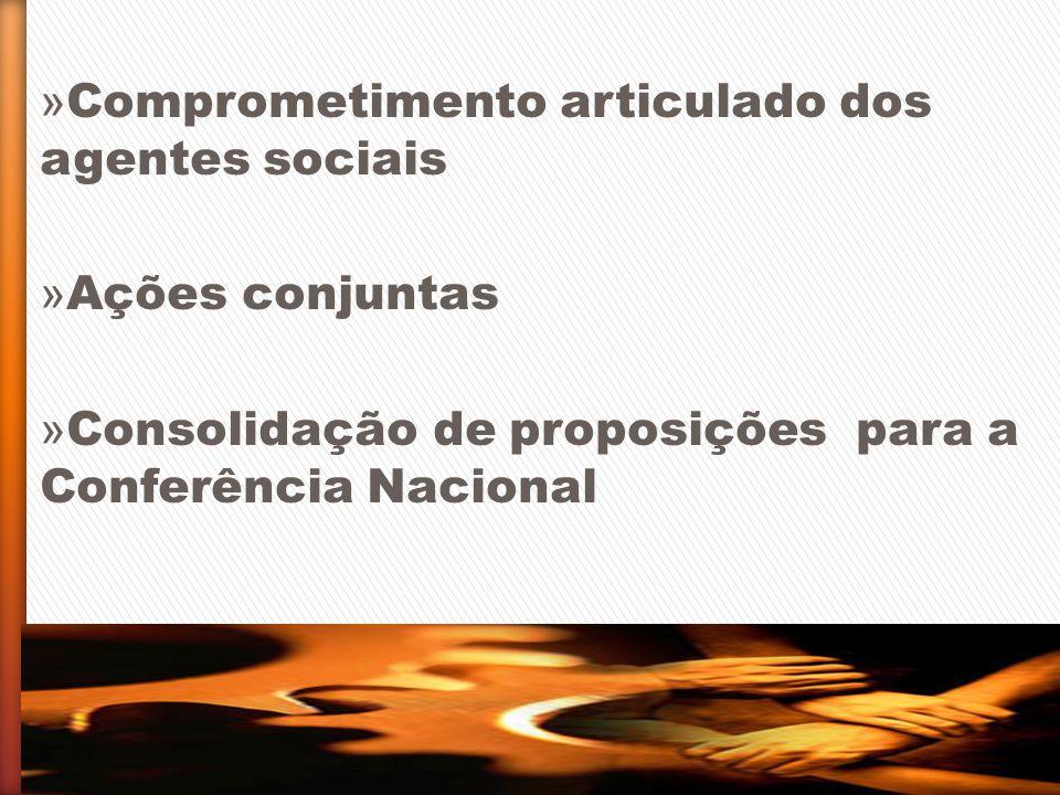 » Comprometimento articulado dos agentes sociais » Ações conjuntas » Consolidação de proposições para a Conferência Nacional