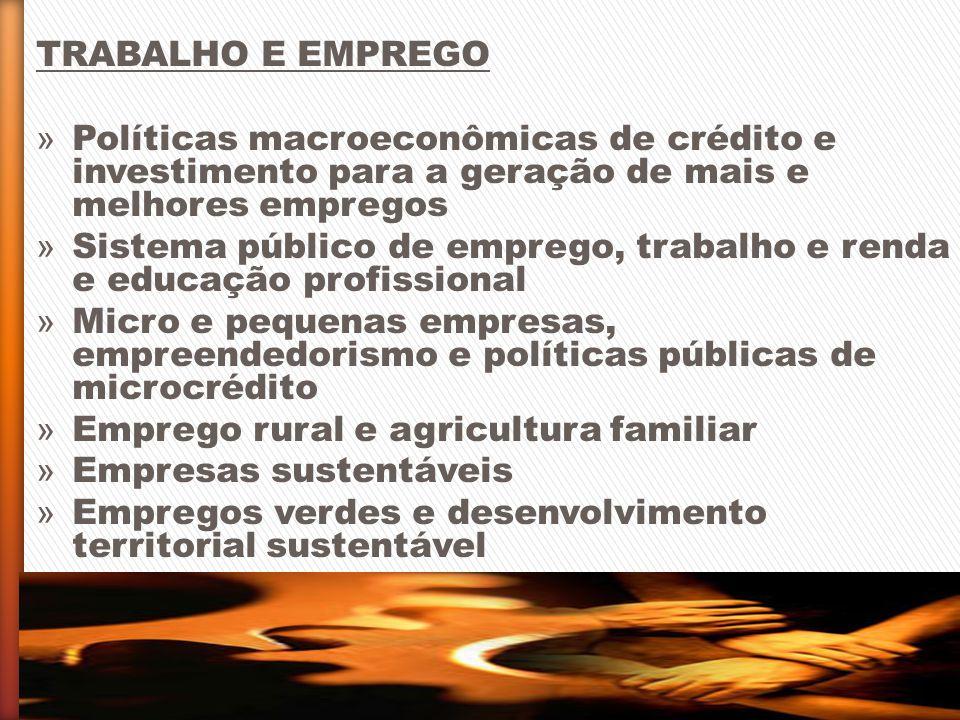 TRABALHO E EMPREGO » Políticas macroeconômicas de crédito e investimento para a geração de mais e melhores empregos » Sistema público de emprego, trab