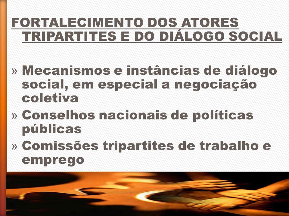 FORTALECIMENTO DOS ATORES TRIPARTITES E DO DIÁLOGO SOCIAL » Mecanismos e instâncias de diálogo social, em especial a negociação coletiva » Conselhos n